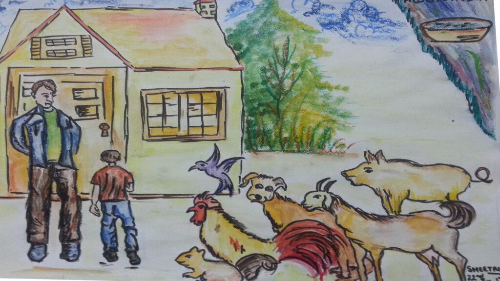 animals and family scene 5